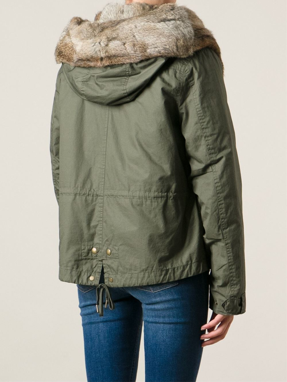Woolrich Fur Lined Short Parka in Green | Lyst