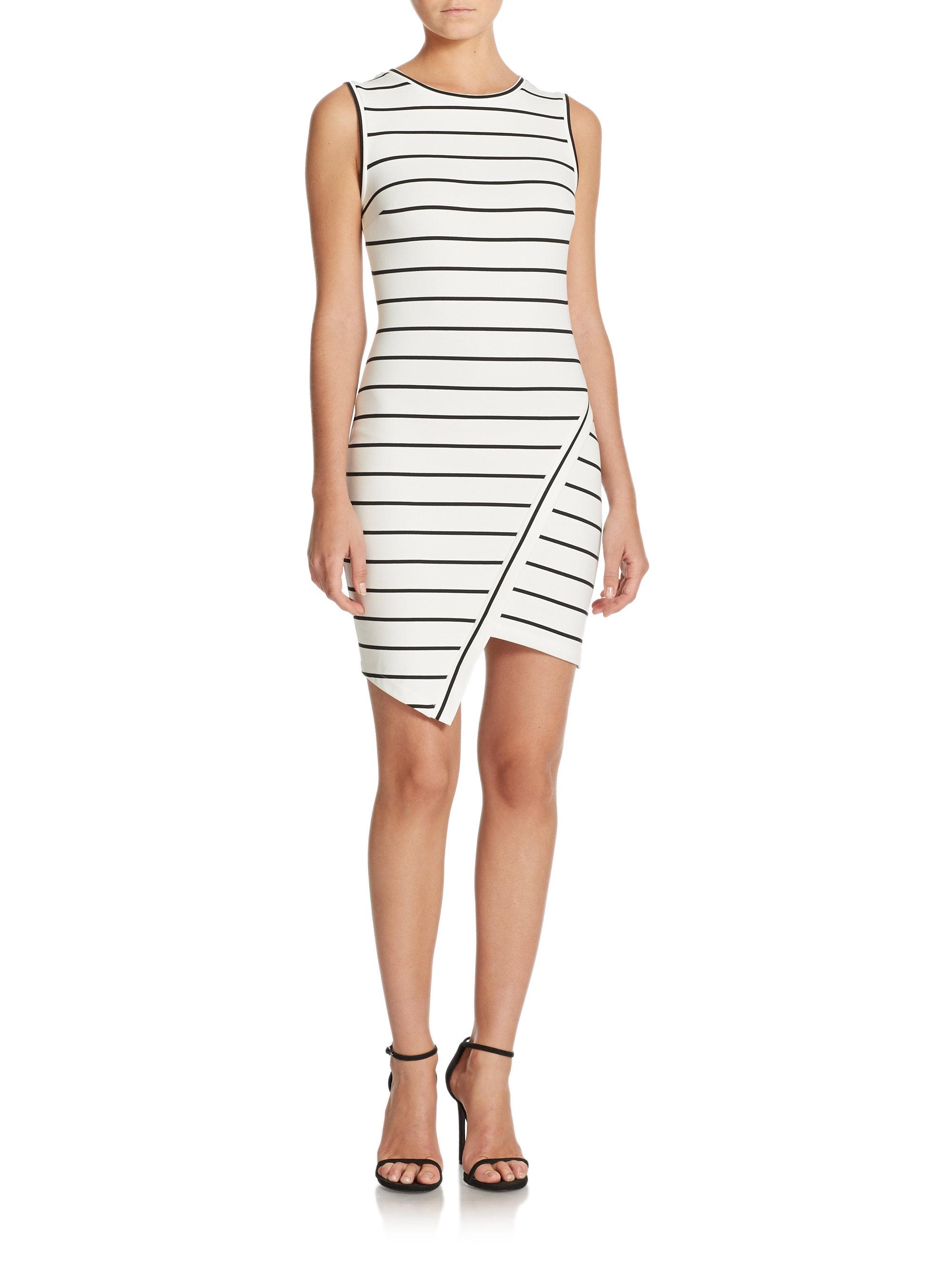 448a2a9c2961 Bec & Bridge Jedi Striped Asymmetrical Mini Dress in Black - Lyst