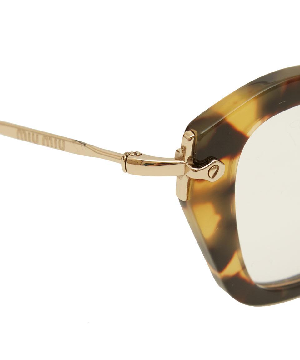 56359a0dac05 Miu Miu Brown Tortoiseshell Angular Cat-eye Glasses in Brown - Lyst
