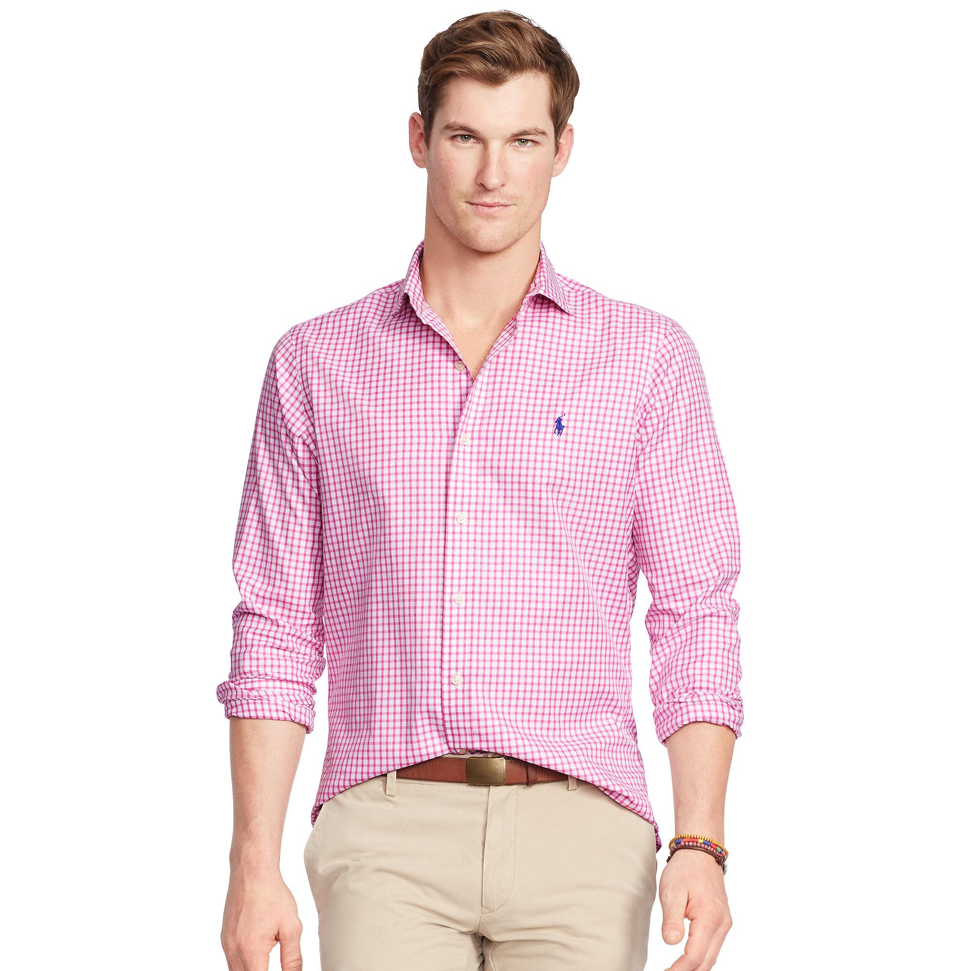 Pink check shirt mens custom shirt for Pink checkered dress shirt