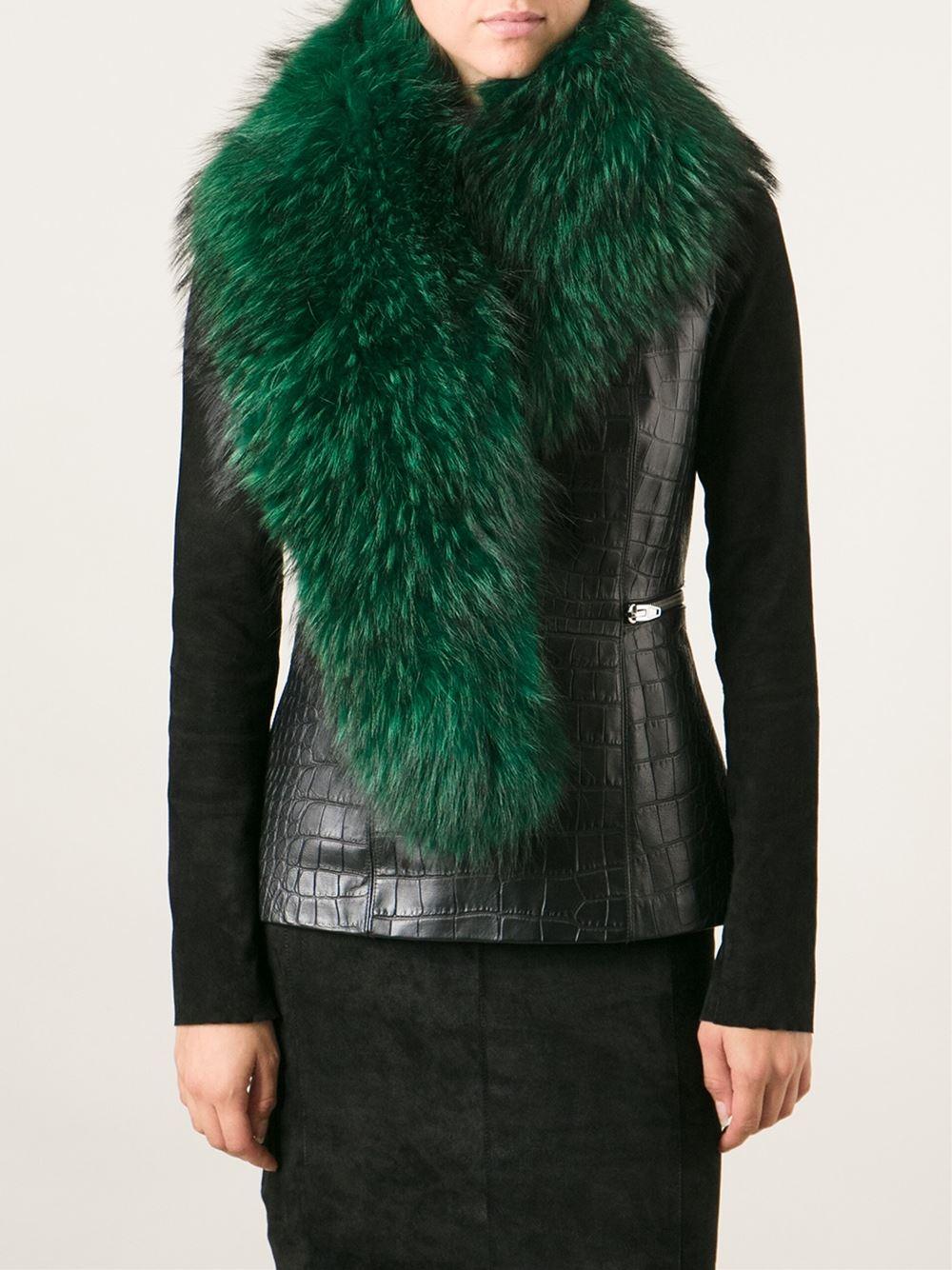 Barbara Bui Raccoon Fur Stole In Green Lyst