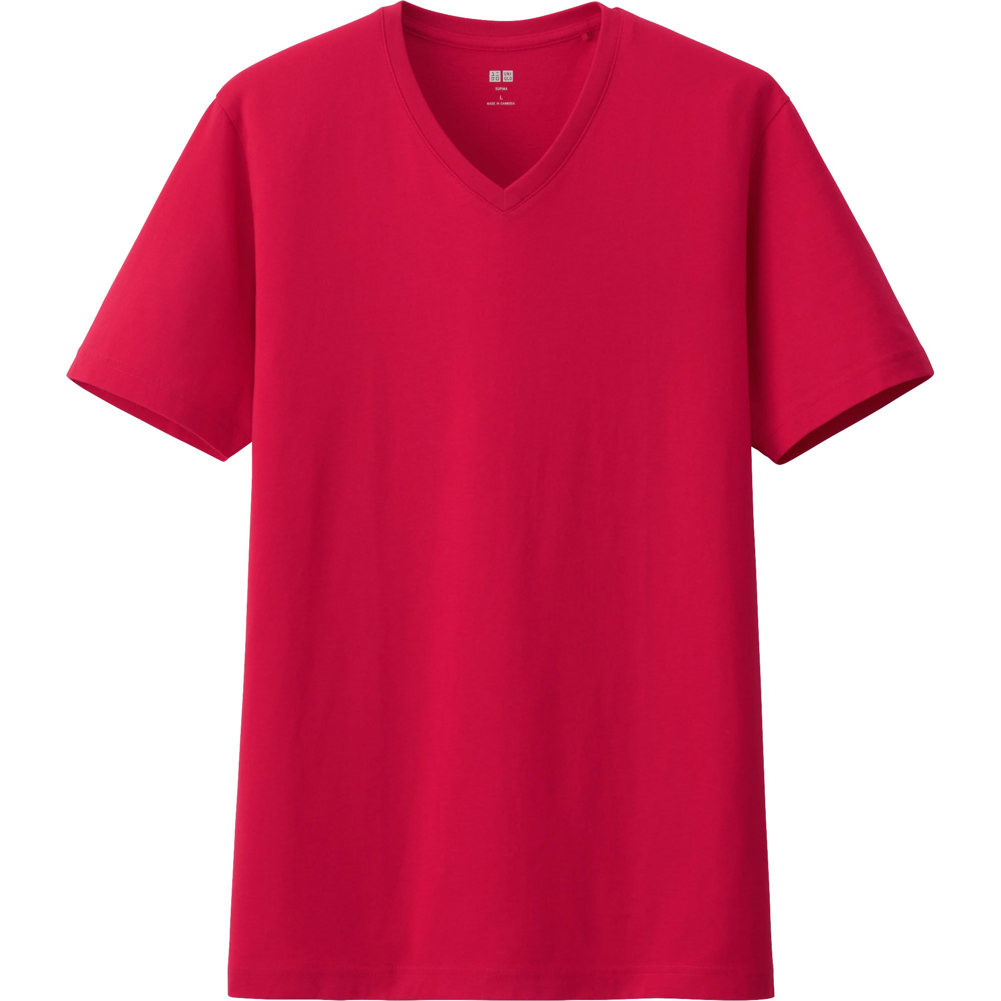 Uniqlo red men supima cotton v neck short sleeve t shirt for Supima cotton dress shirts