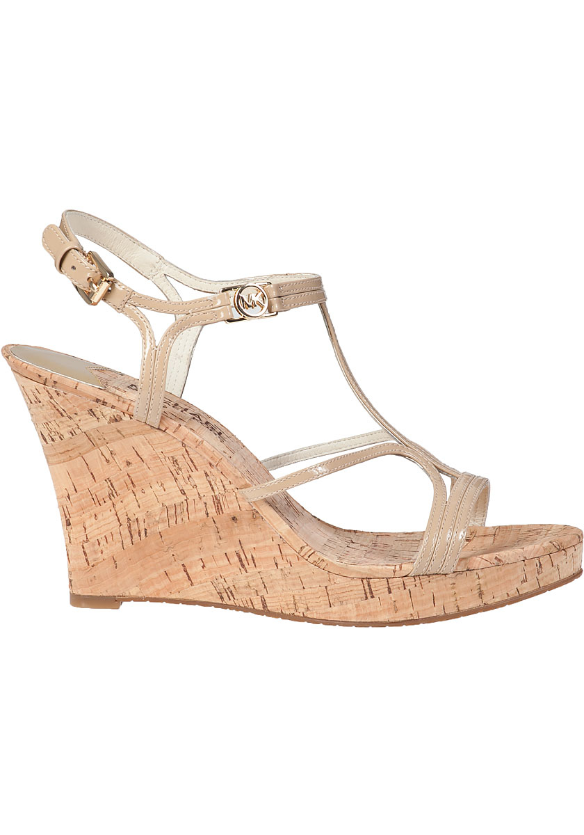 cba0756308f Lyst - MICHAEL Michael Kors Cicely Wedge Sandal Nude Patent in Natural