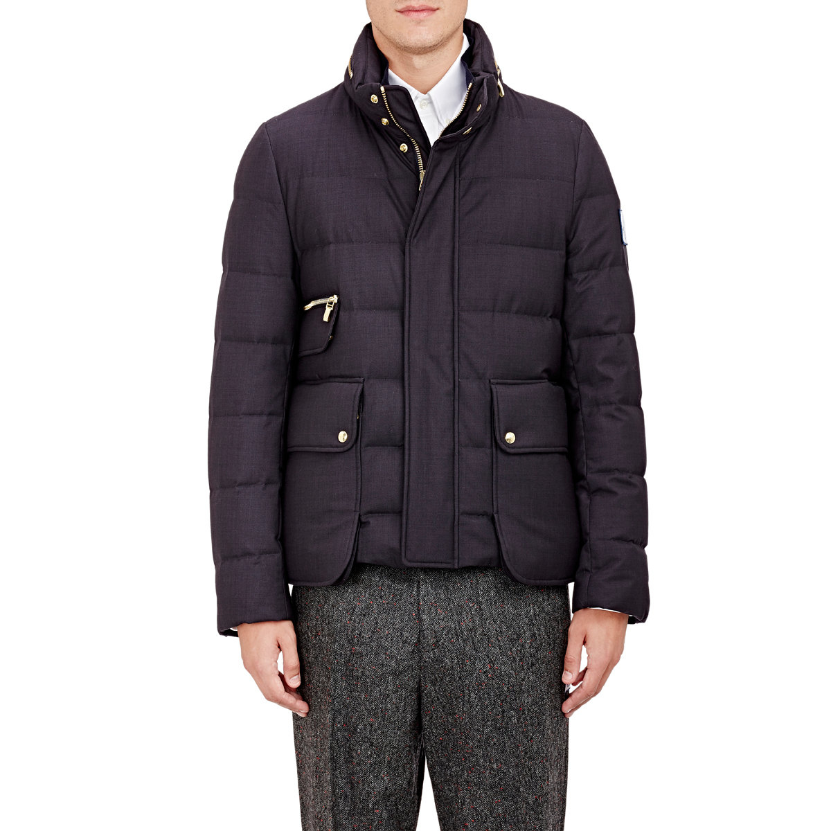 fb6f6e6b4 Moncler Gamme Bleu Black Quilted Jacket With Zip-away Hood for men