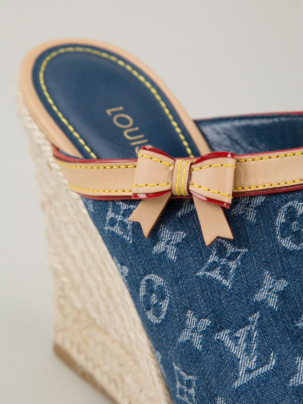 Lyst - Louis Vuitton Monogram Denim Mules in Blue