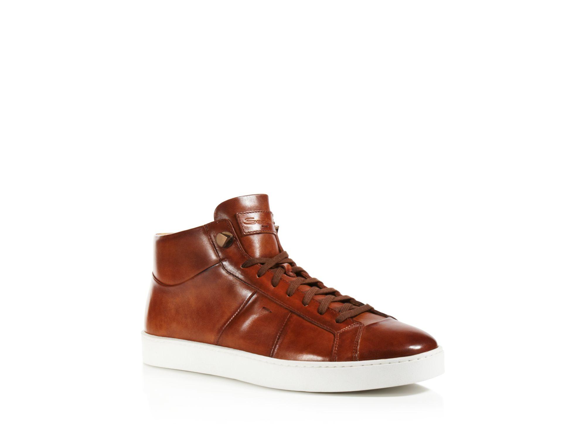 Santoni Gloria High Top Sneakers in Tan