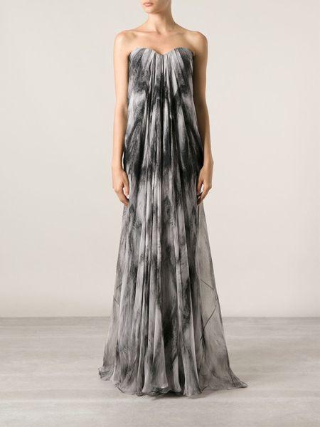 Alexander Mcqueen Strapless Evening Dress In Gray Grey