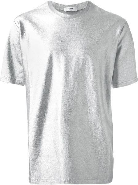 Common Eli Metallic T Shirt In Silver For Men Metallic