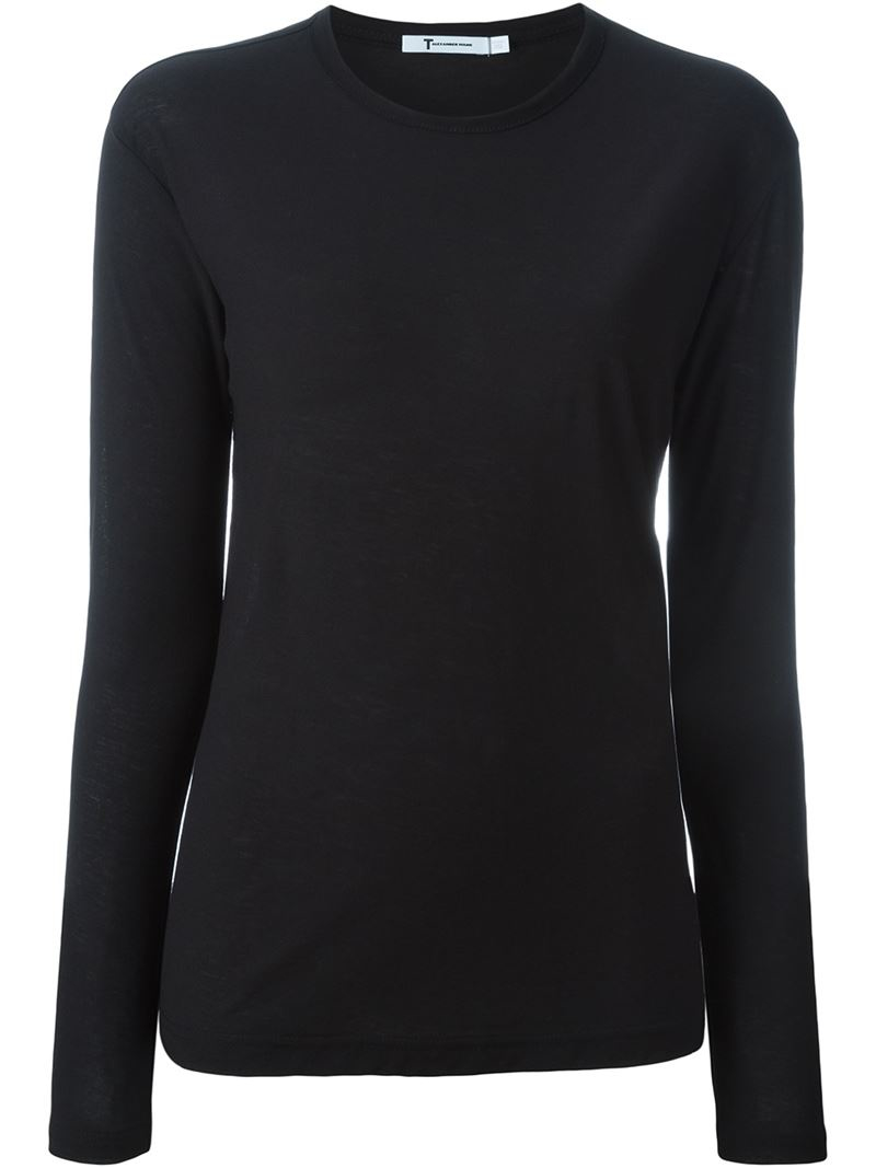 T by alexander wang longlseeved t shirt in black lyst for T by alexander wang t shirt