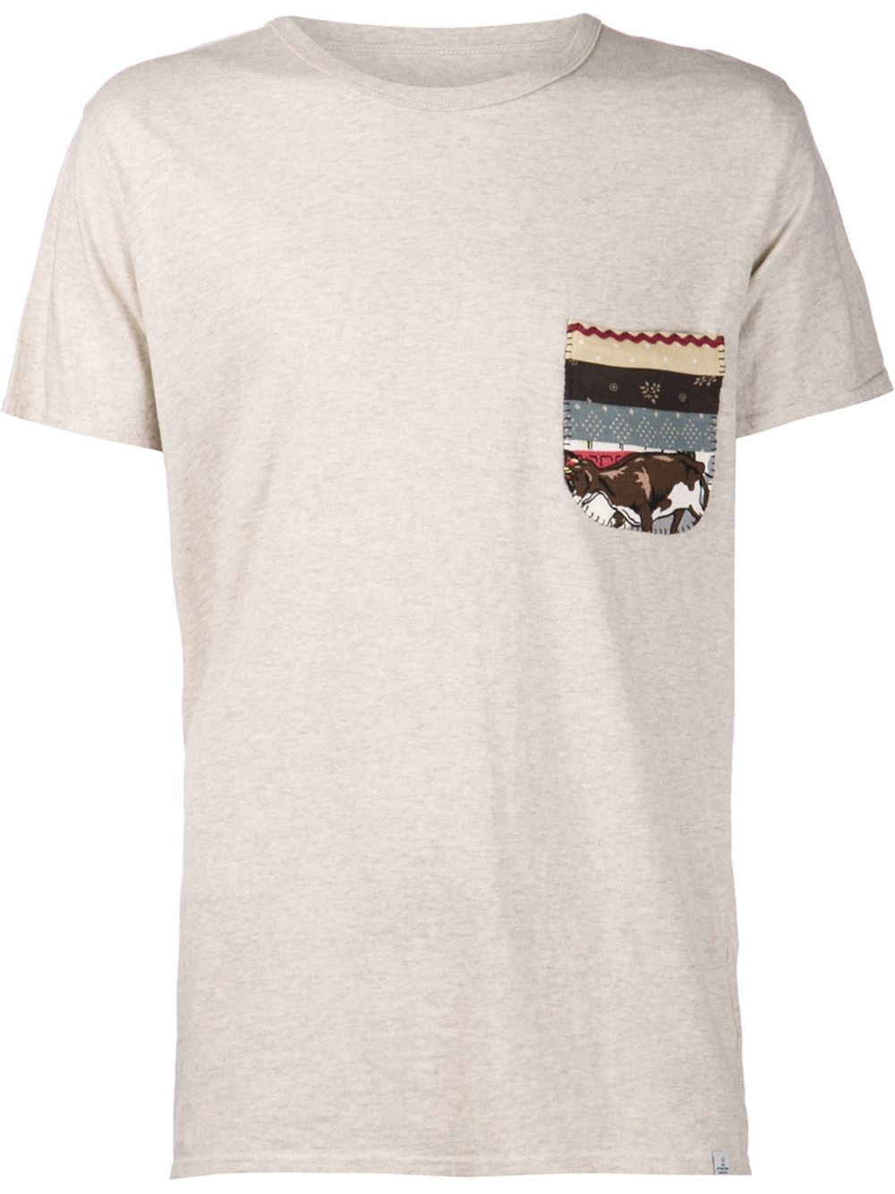 Lyst visvim print pocket t shirt in natural for men for Pocket t shirt printing