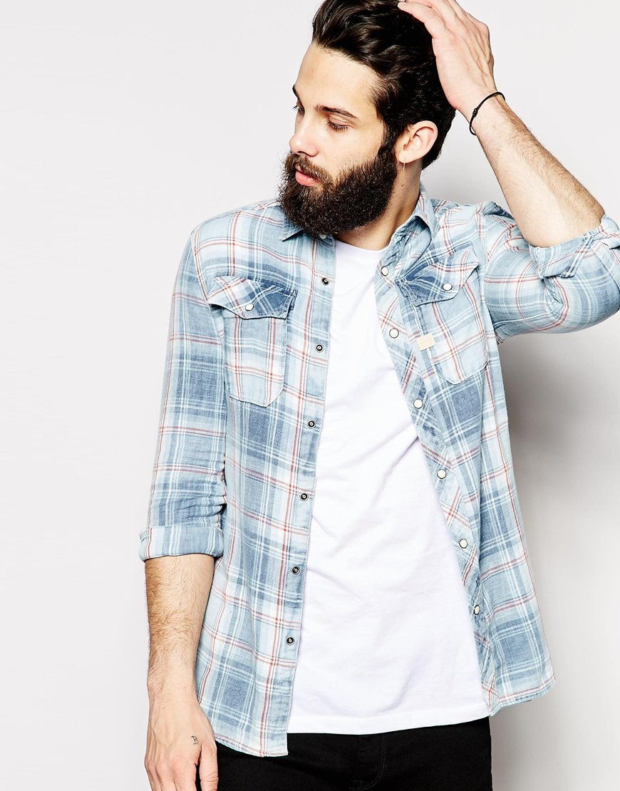 G star raw shirt landoh indigo heap flannel check rinsed for How to wash flannel shirts