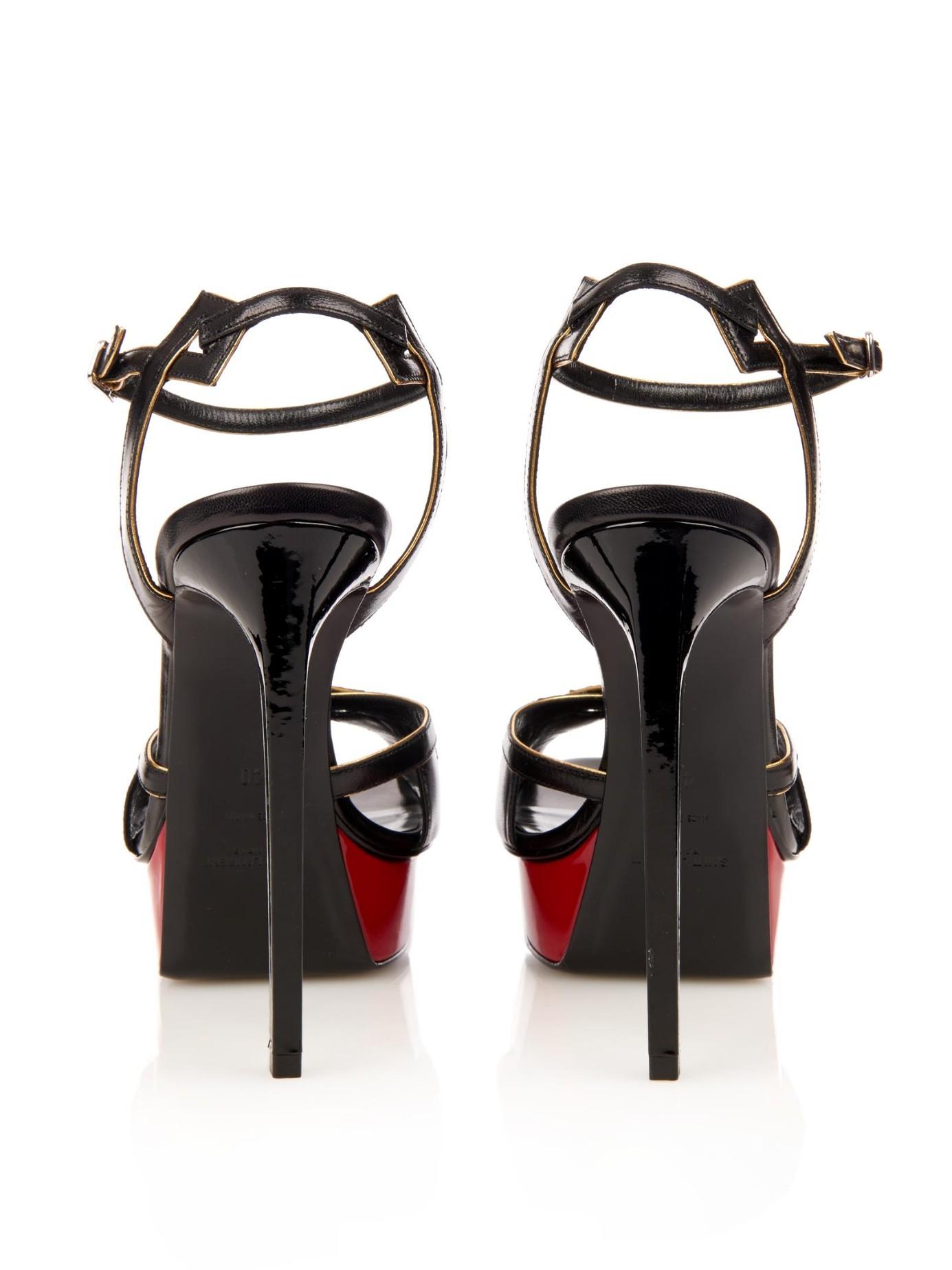 Saint Laurent Leather Bianca Studded Star Platform Sandals