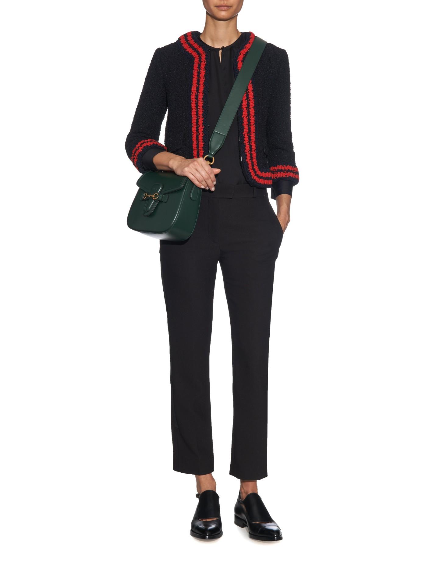 Lyst Gucci Lady Web Medium Leather Cross Body Bag In Green