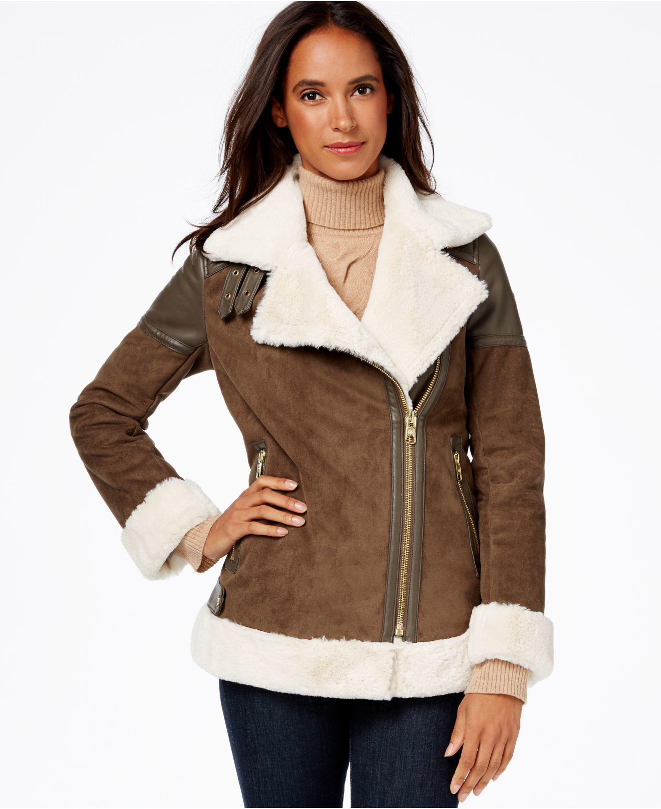 55e634ae821 Lyst Michael Kors Faux Leather Trim Shearling Moto. Michael Kors Brown  Leather Jacket Macy S Cairoamani Com