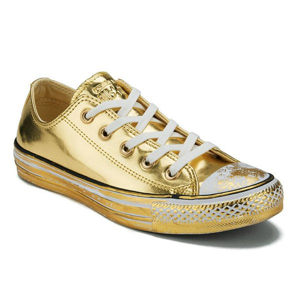 Lyst - Converse Women's Chuck Taylor All Star Chrome Leather Ox Trainers in  Metallic