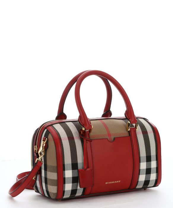 3c0c7bab7dc5 Burberry Red Leather And Tan House Check Canvas Medium  Alchester   Convertible Bowling Bag in Red - Lyst