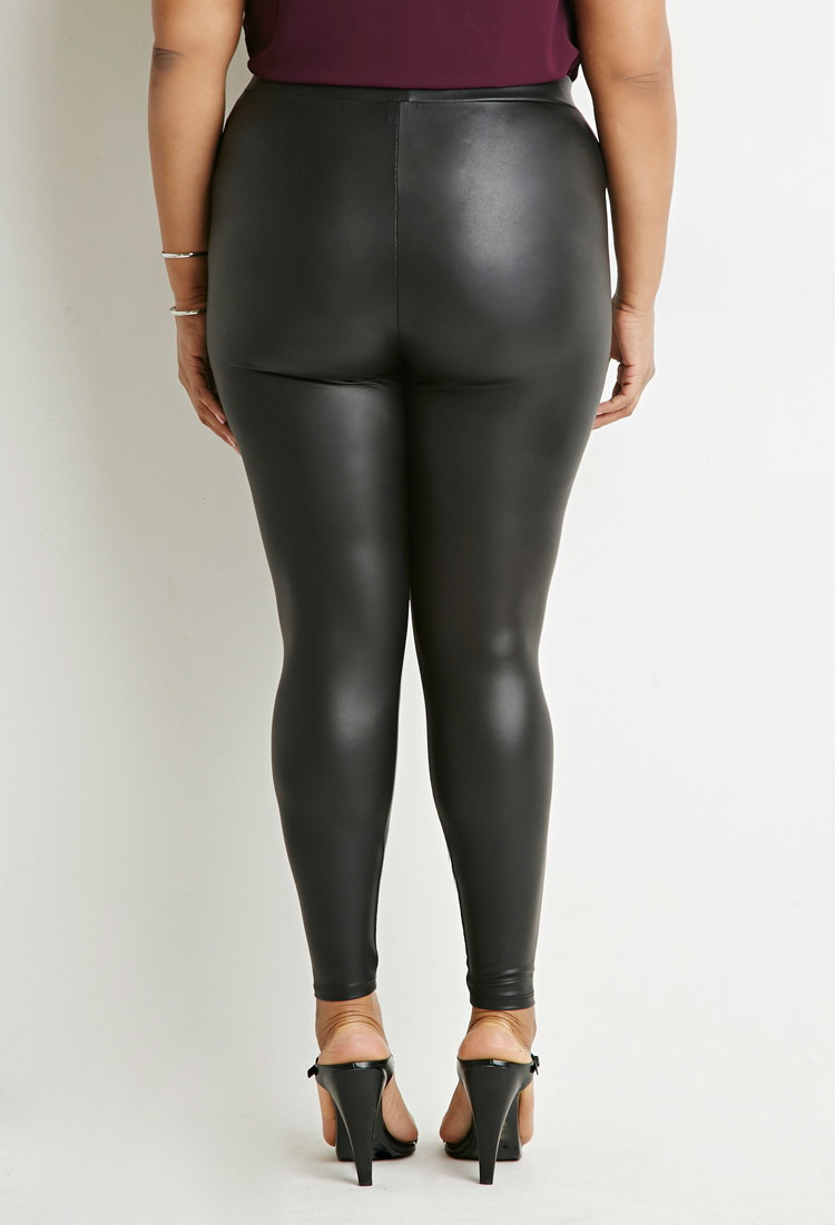 Forever 21 Faux Leather Leggings in Black | Lyst