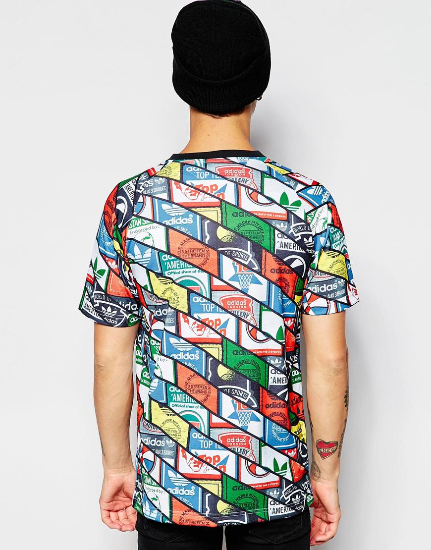 Lyst adidas originals t shirt in all over print ab7686 for All over printing t shirts