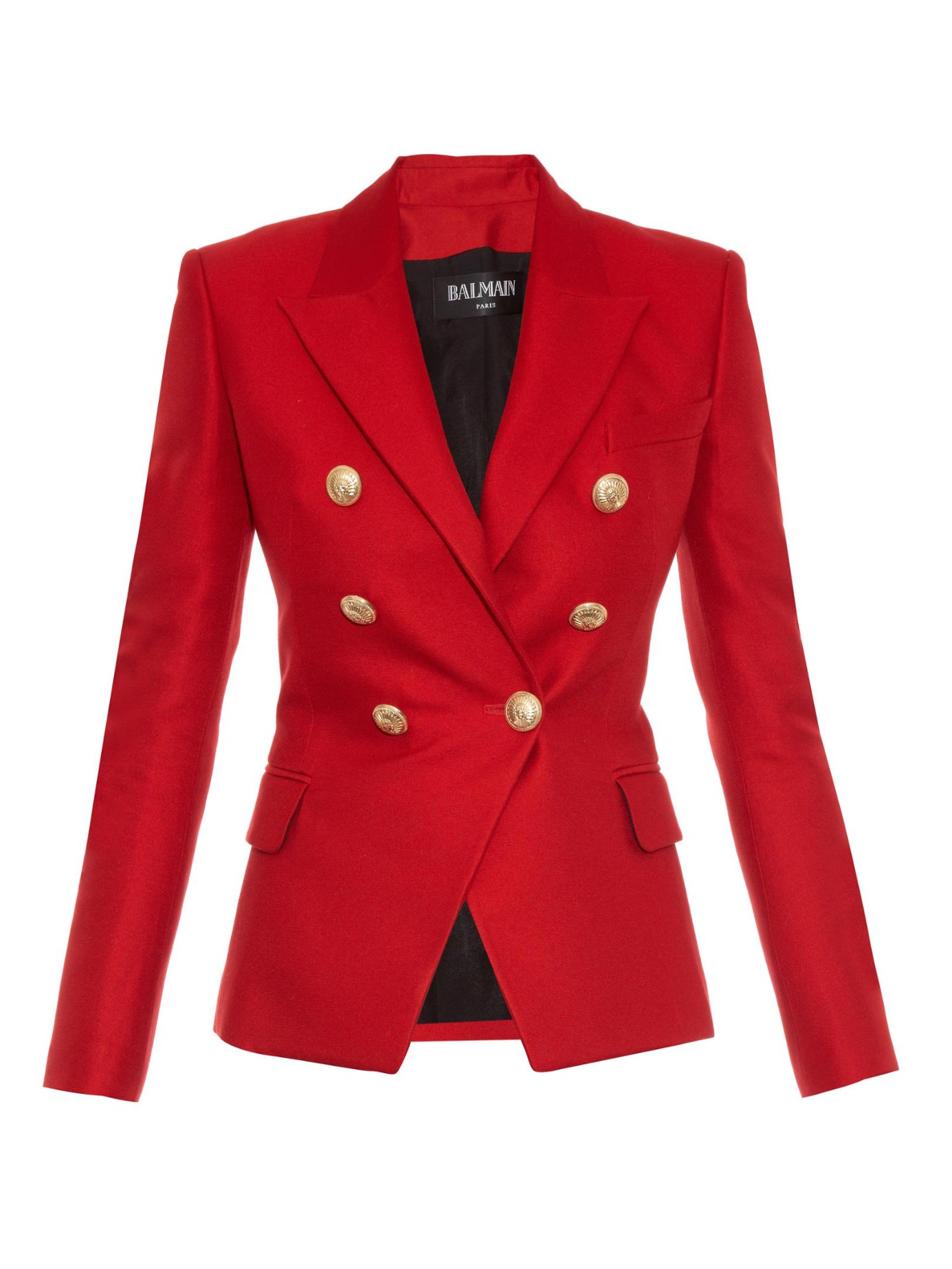Balmain Double Breasted Blazer In Red Lyst