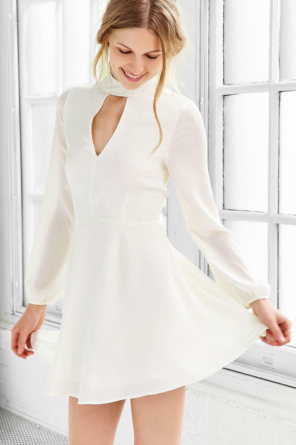 Lyst Love Sadie Long Sleeve Mock Neck Dress In White