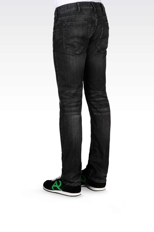 b2c57392 Armani Jeans Slim Fit Black Denim Wash Jeans in Black for Men - Lyst