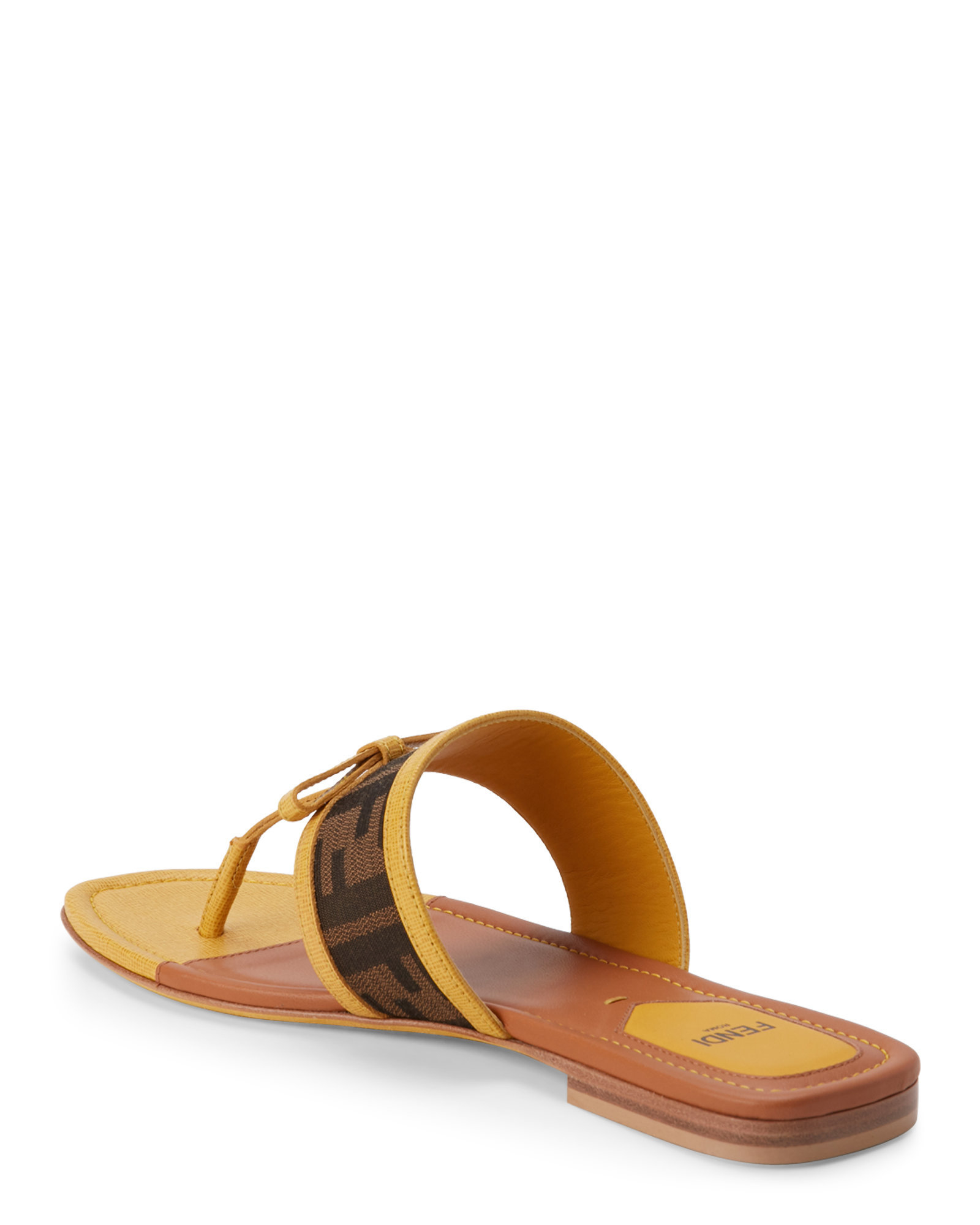 06964080be474a Lyst - Fendi Tobacco   Mustard Zucca Thong Sandals in Brown