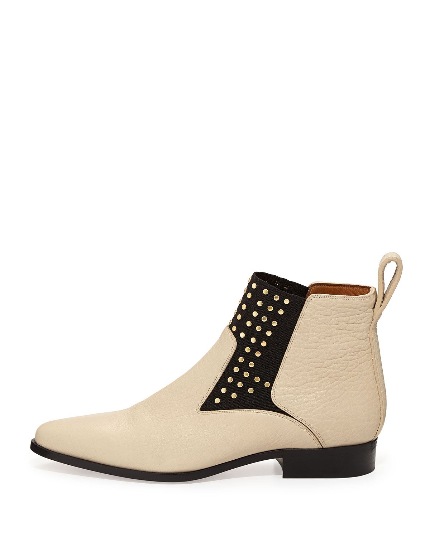 chlo studded leather chelsea boot in beige natural lyst. Black Bedroom Furniture Sets. Home Design Ideas
