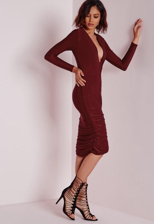 c25706925677 Lyst - Missguided Slinky Plunge Long Sleeve Midi Dress Burgundy in ...