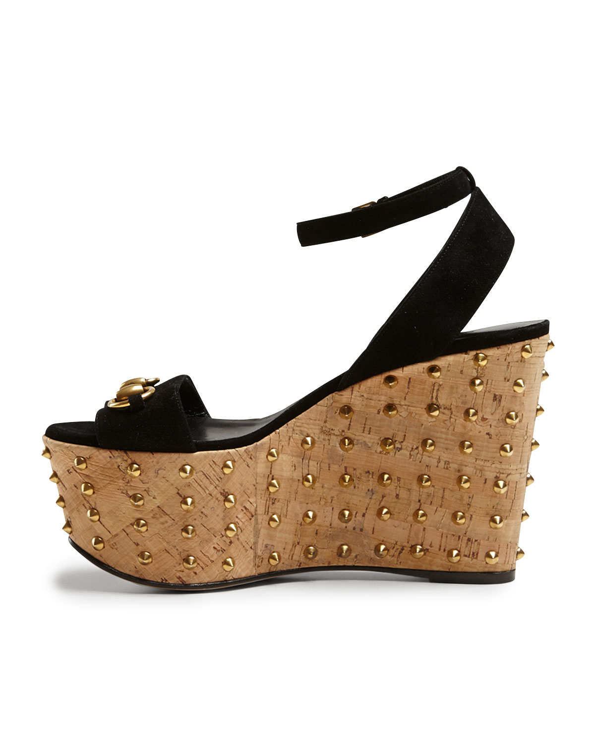 81a14dc27f3 Lyst - Gucci Lilianne Studded Suede Wedge Sandal in Black