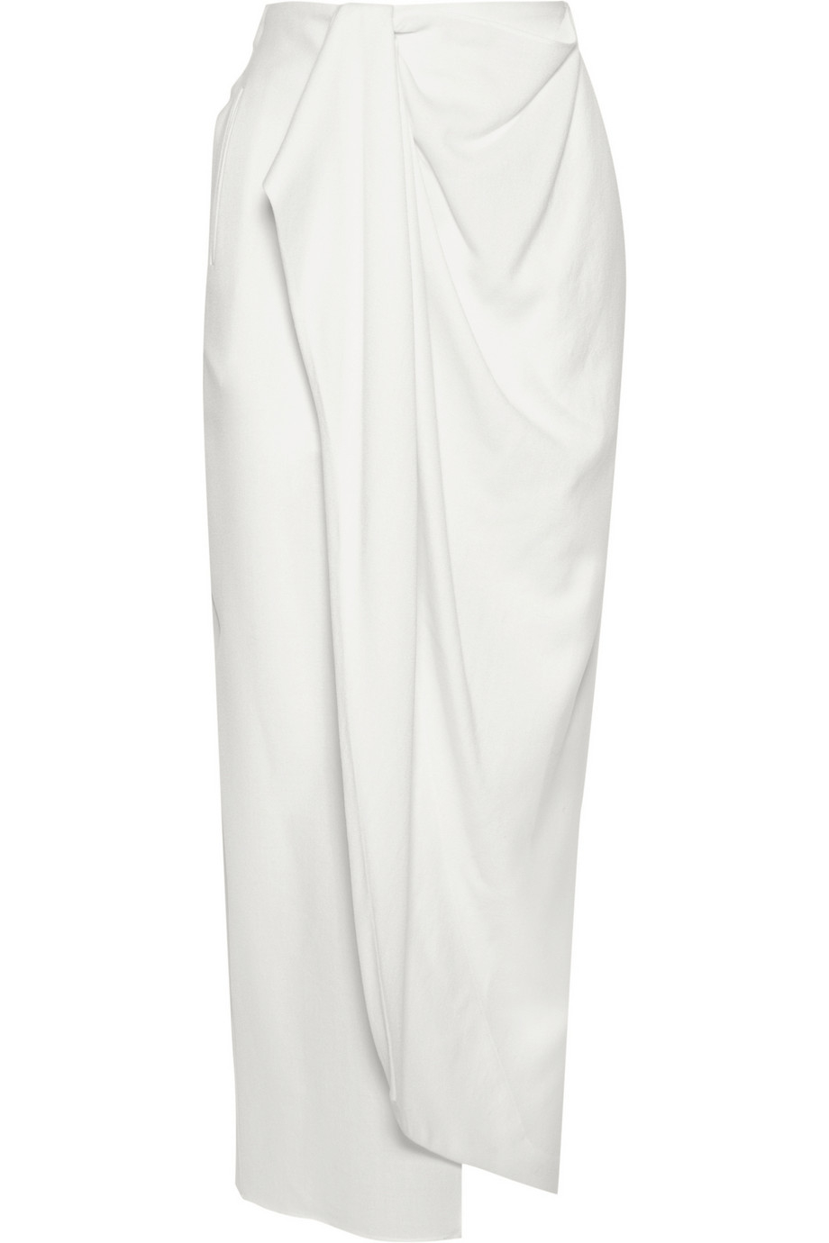 Baja east Wrap-Effect Wool-Crepe Maxi Skirt in White | Lyst