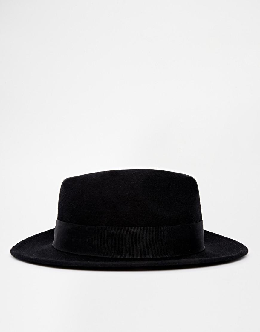 687ecd88d0513 ASOS Pork Pie Hat In Black Felt With Wide Brim in Black for Men - Lyst