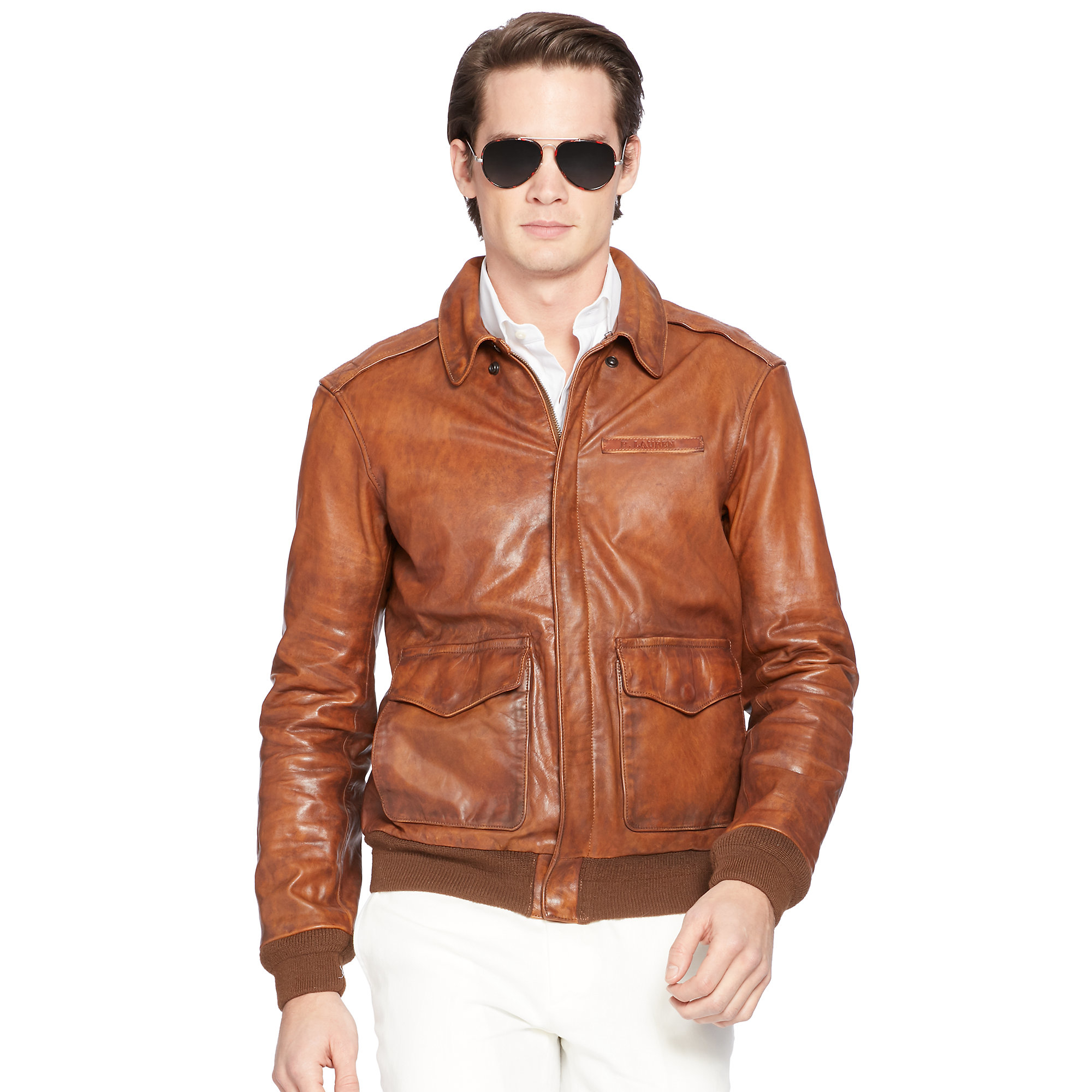 0fb1d9a9c Polo Ralph Lauren Brown Nappa Leather Bomber Jacket for men