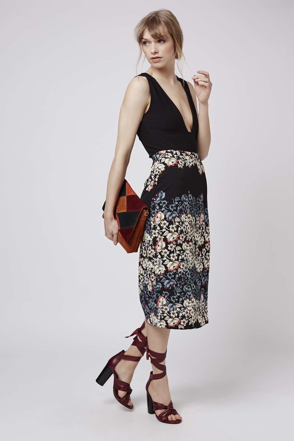Topshop Flower Border Wrap Midi Skirt in Blue | Lyst
