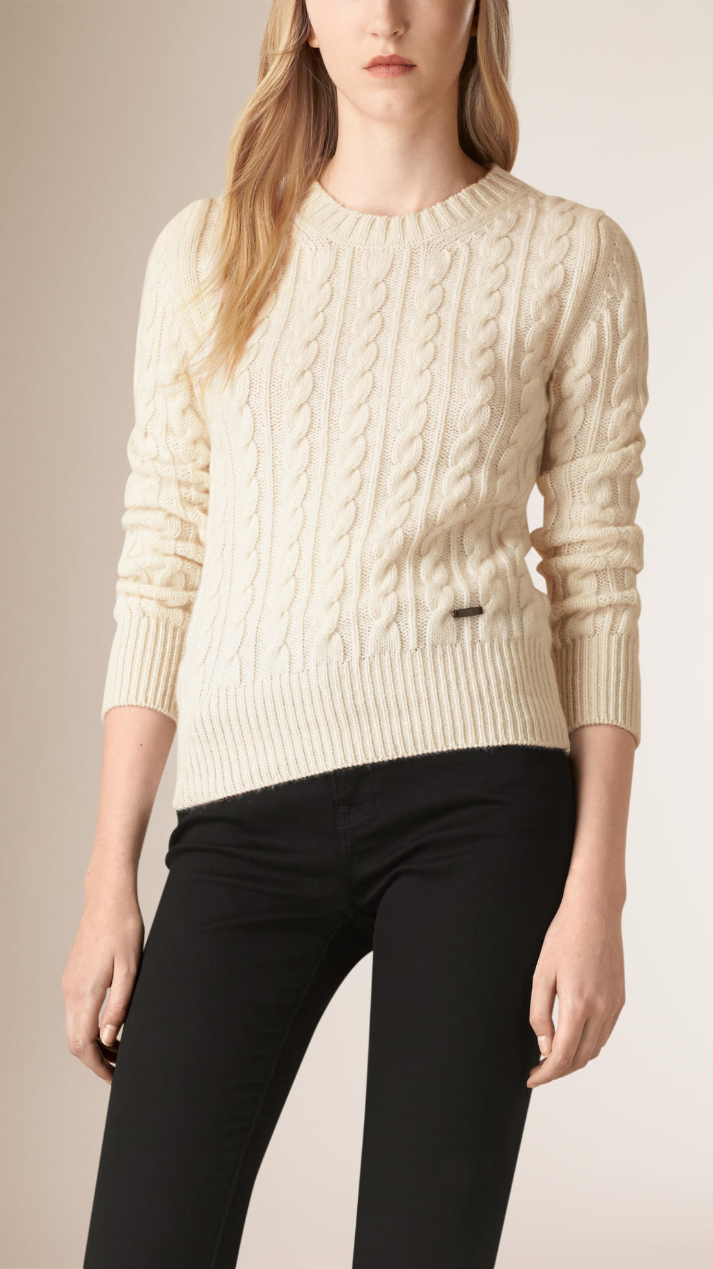 Wool Sweater Grey: Burberry Cable Knit Wool Cashmere Sweater Natural