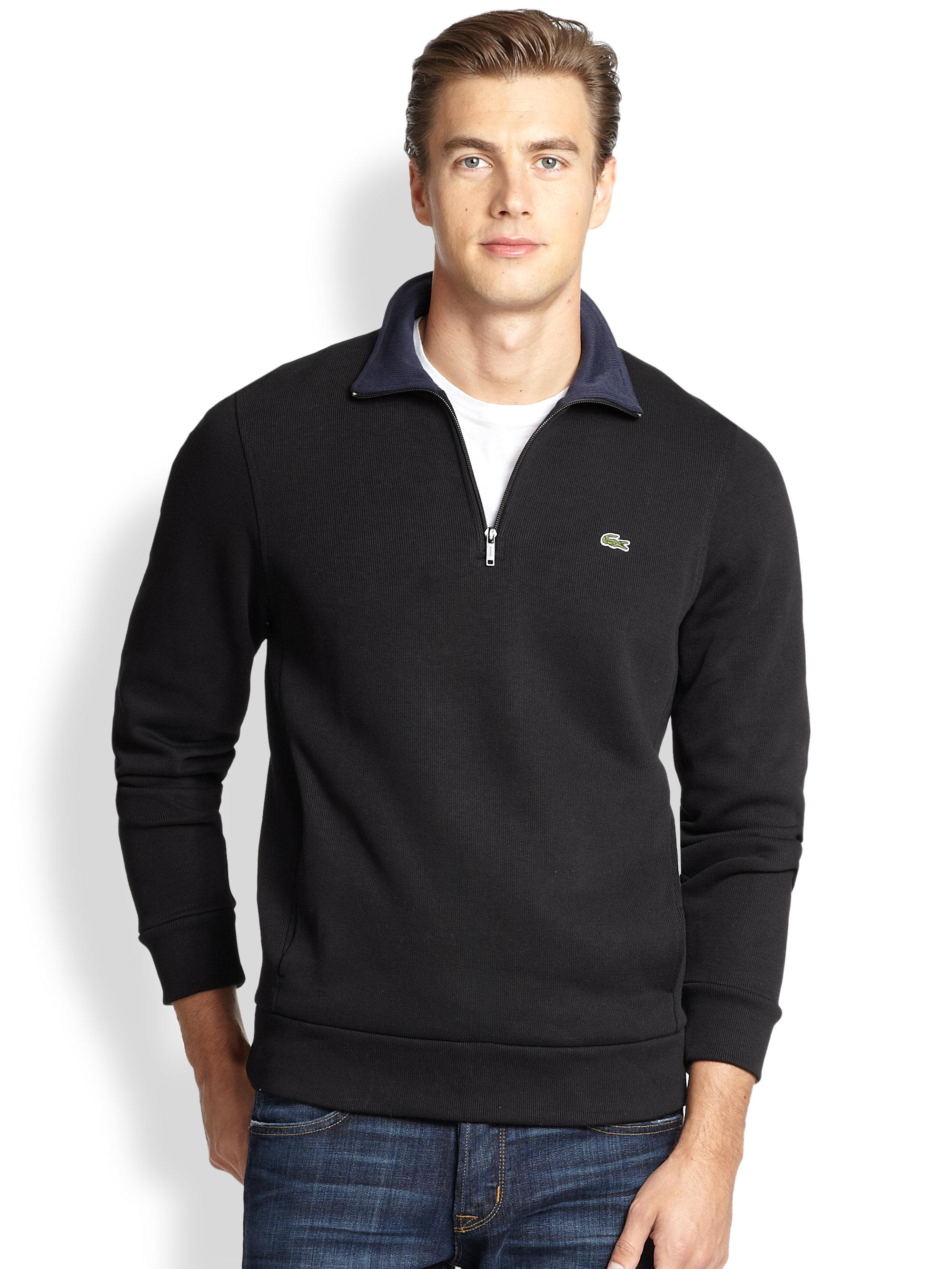 0088e9dbdc Black Lacoste Sweater Men For Pullover Half Zip Lyst In wYfxad7qd