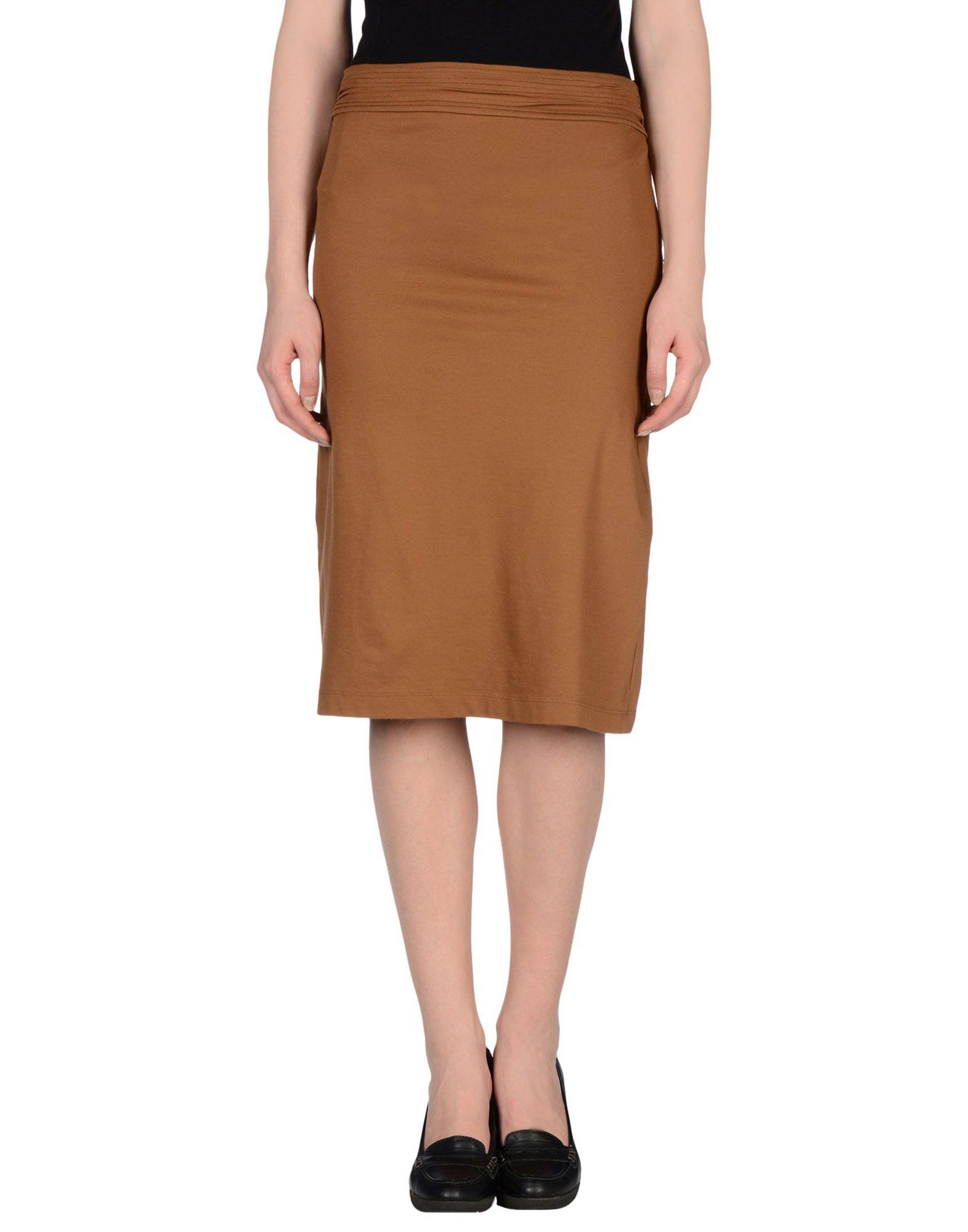 manila grace knee length skirt in brown lyst