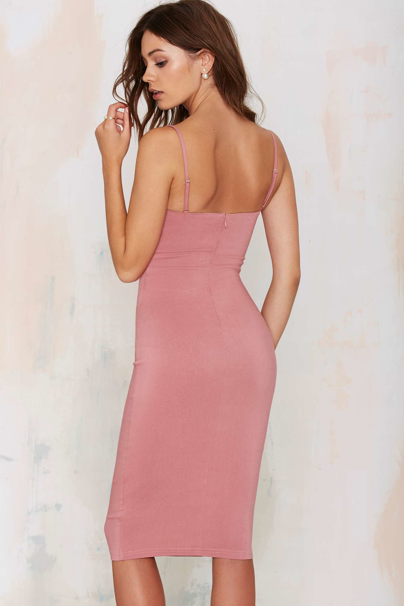 Nasty gal Rare London Monroe Midi Bodycon Dress in Pink | Lyst