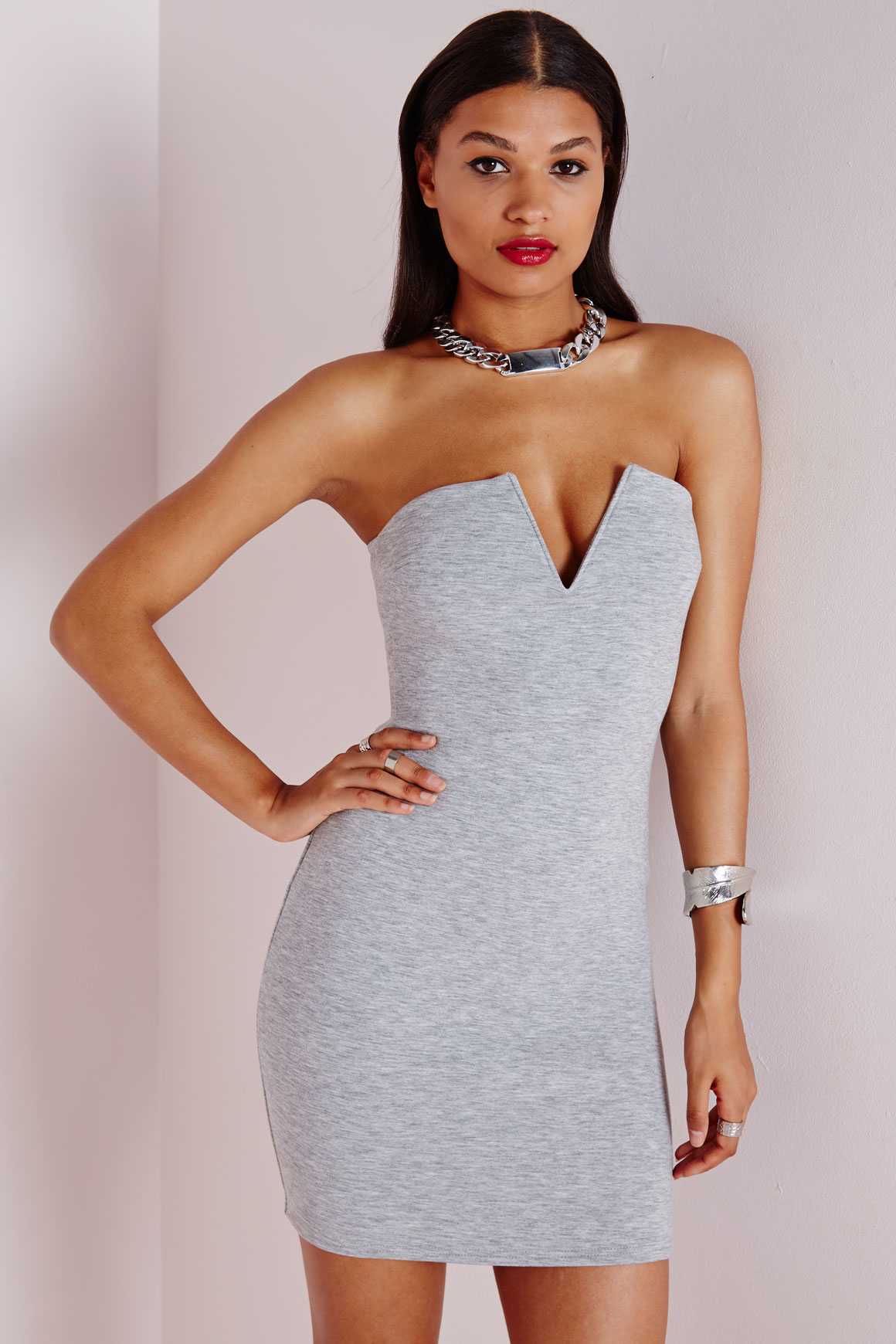 79a8853ade0b Missguided Plunge Strapless Bodycon Dress Grey Marl in Gray - Lyst