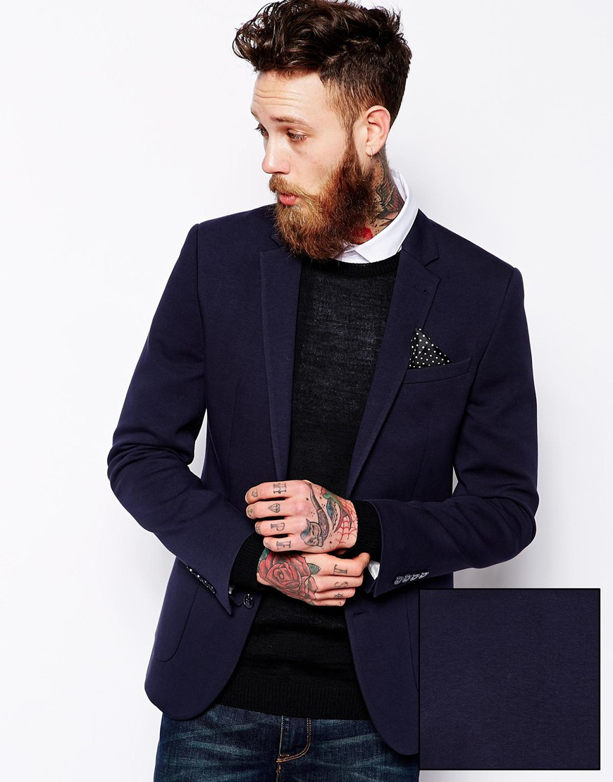 Asos Slim Fit Blazer In Jersey in Blue for Men | Lyst