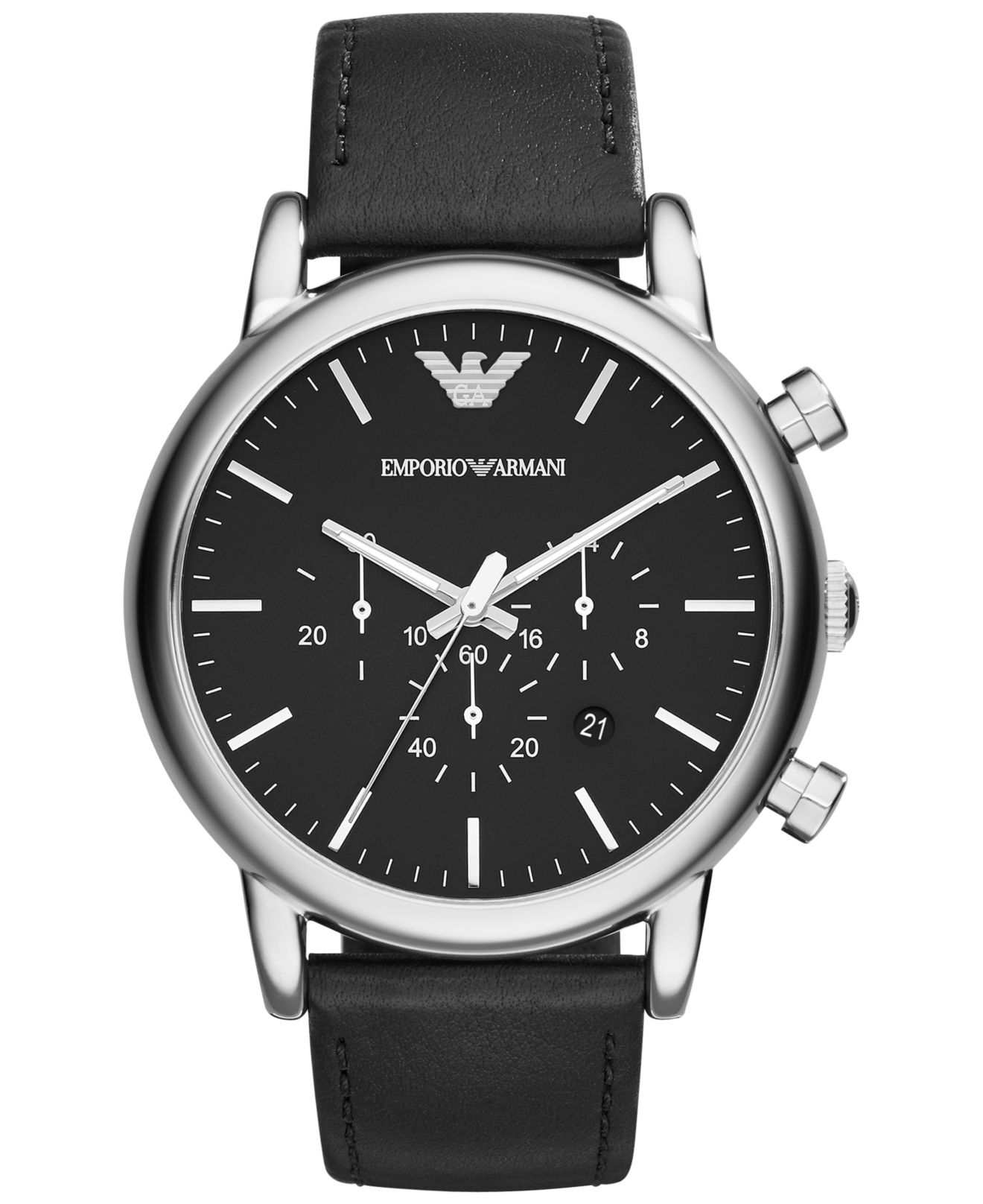 emporio armani men 39 s chronograph matte black leather strap. Black Bedroom Furniture Sets. Home Design Ideas
