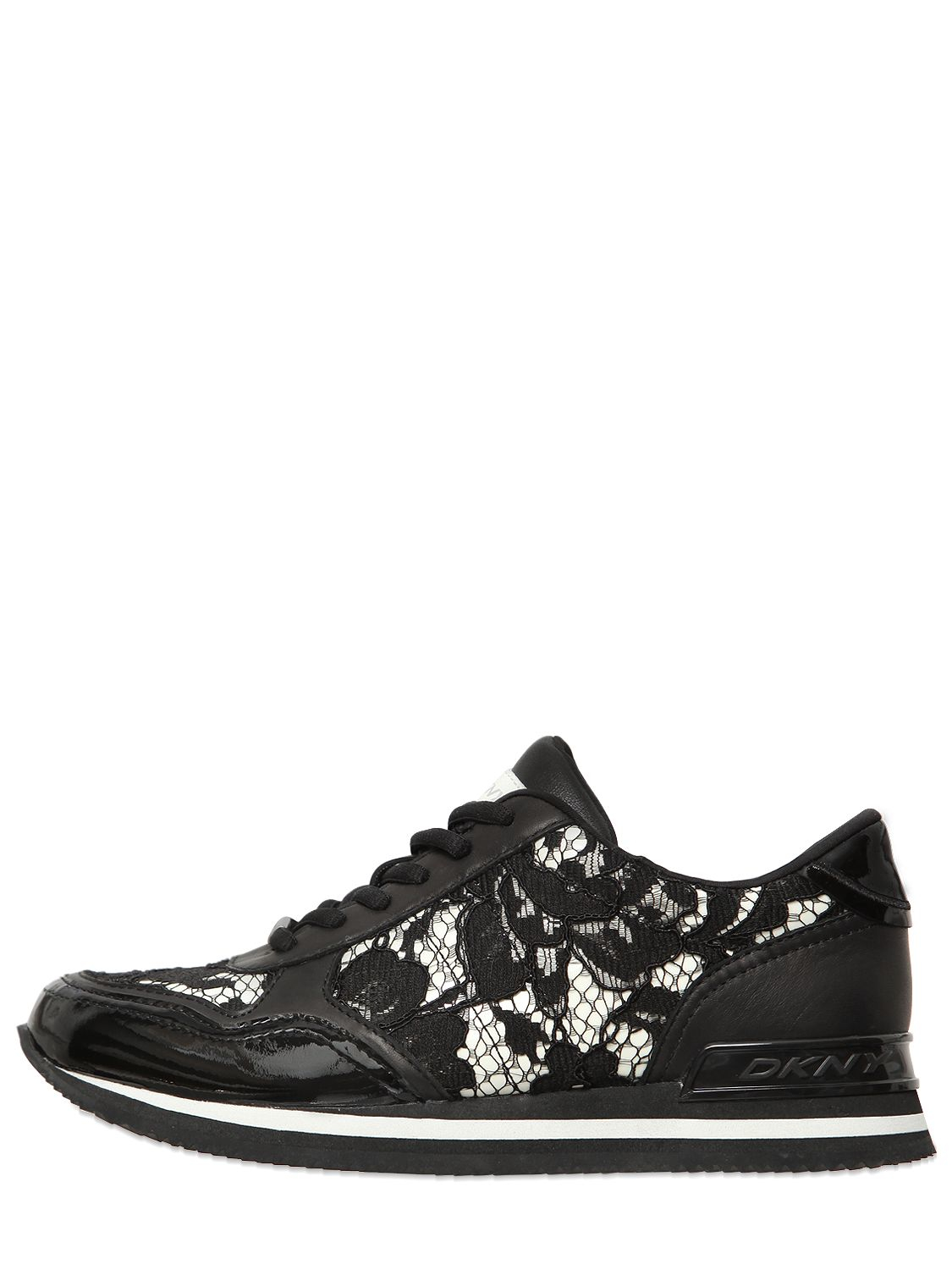 Dkny Jamie Lace Amp Patent Leather Sneakers In Black White