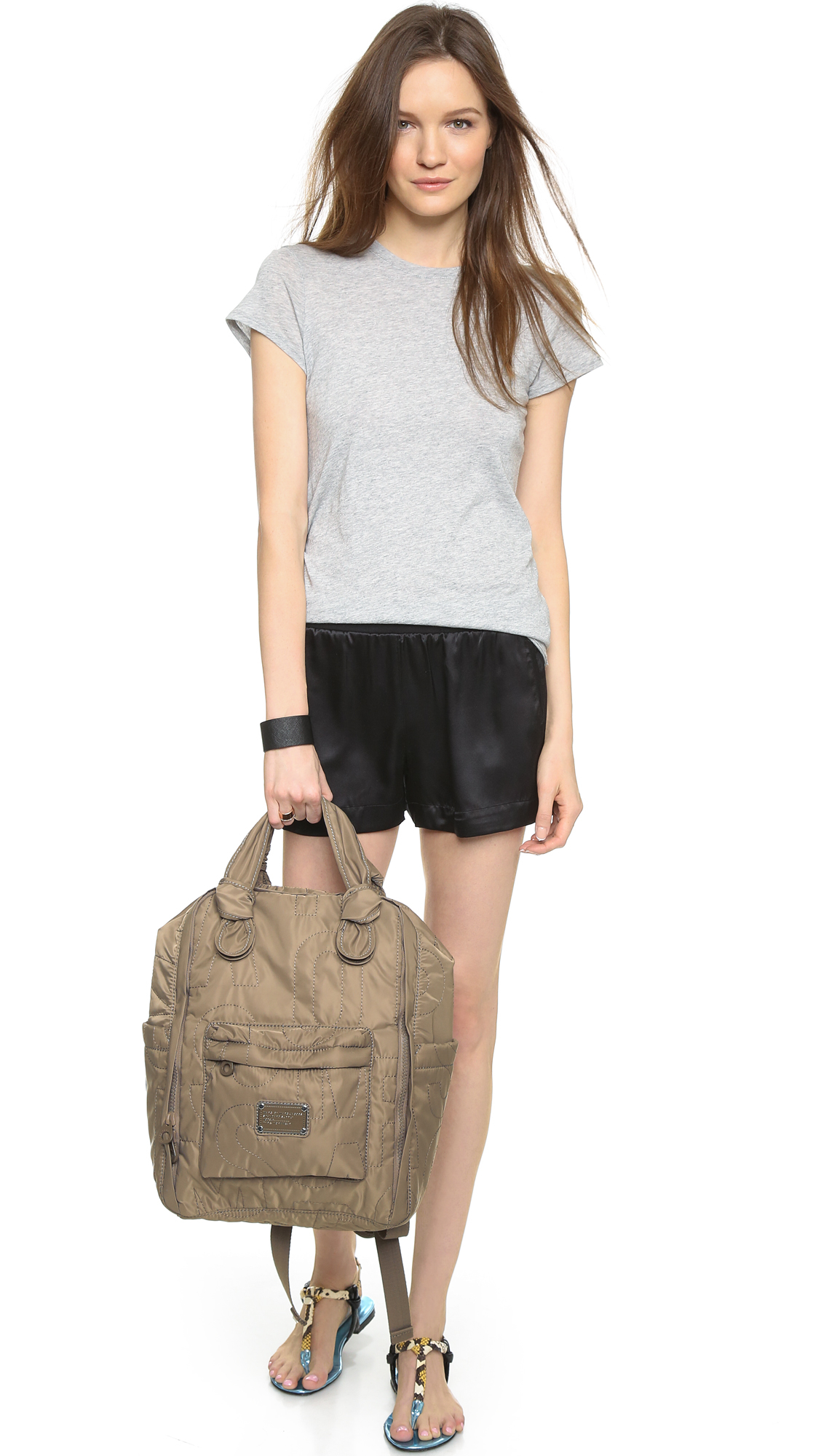 lyst marc by marc jacobs pretty nylon backpack in gray. Black Bedroom Furniture Sets. Home Design Ideas