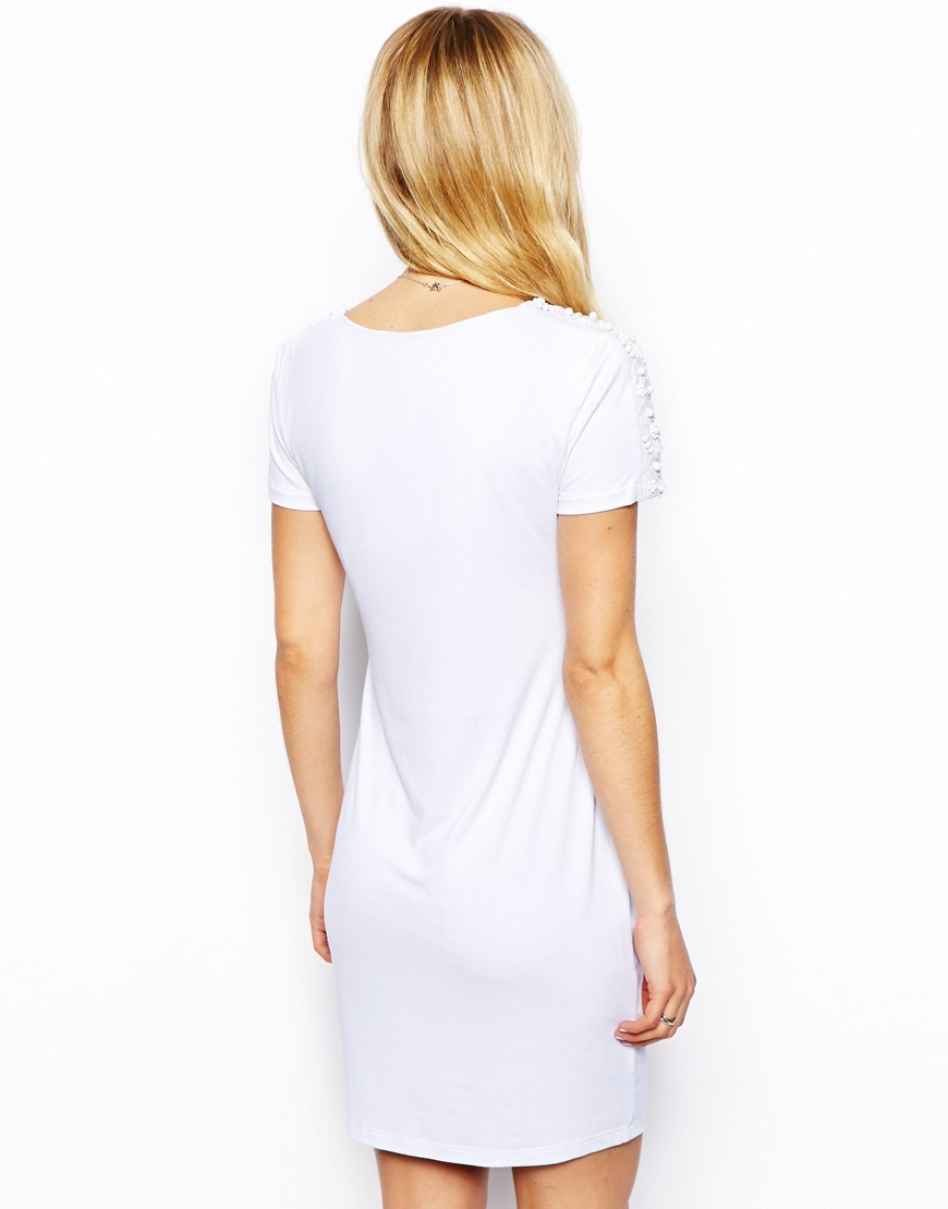 Asos embellished sleeve t shirt bodycon dress in white lyst for Dressy white t shirt