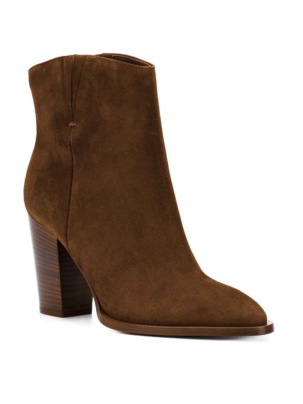 vince chunky heel suede ankle boots in brown lyst