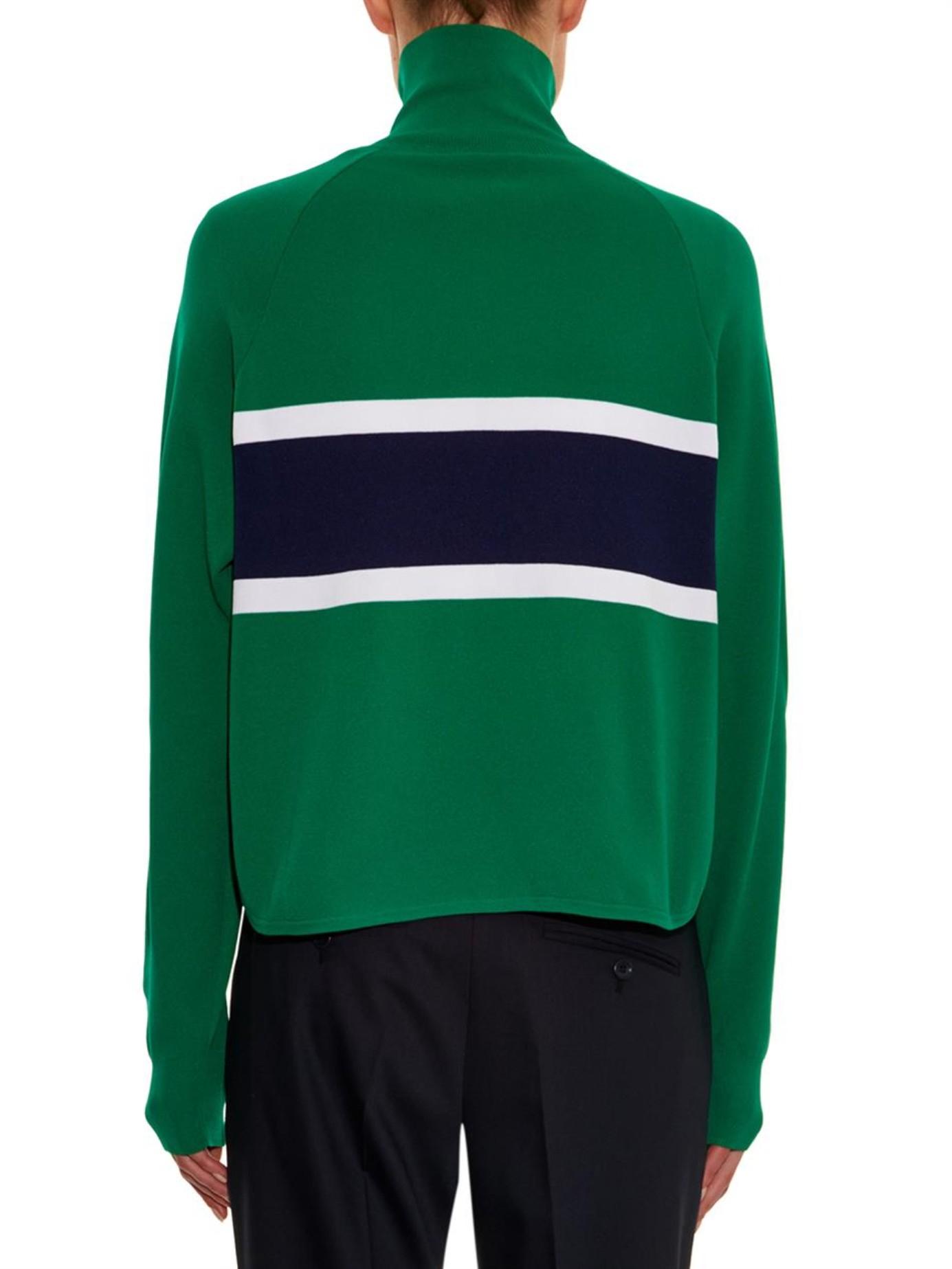 Jil sander navy Striped Knit Cardigan in Green