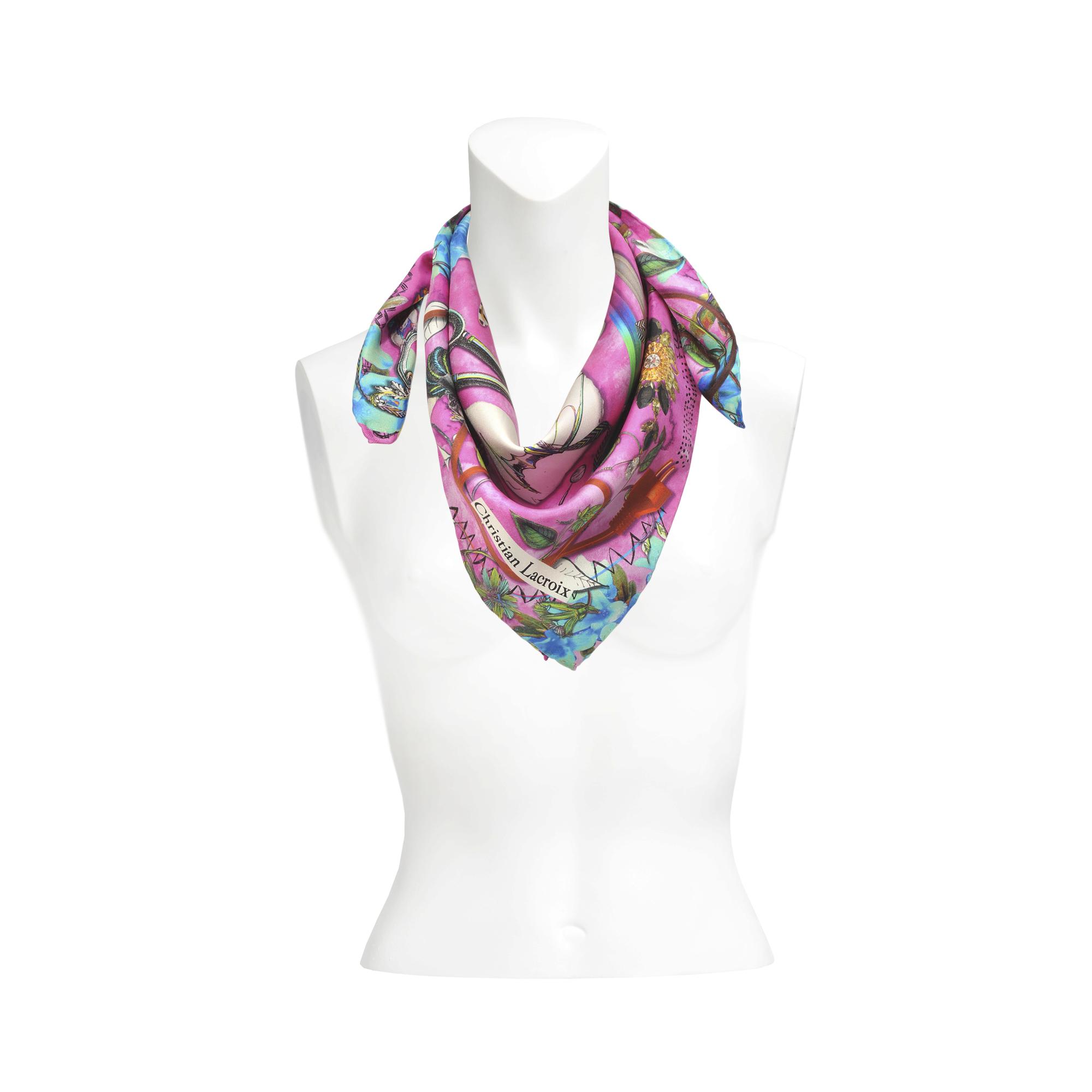 christian lacroix garden par tea silk scarf 70x70 in pink