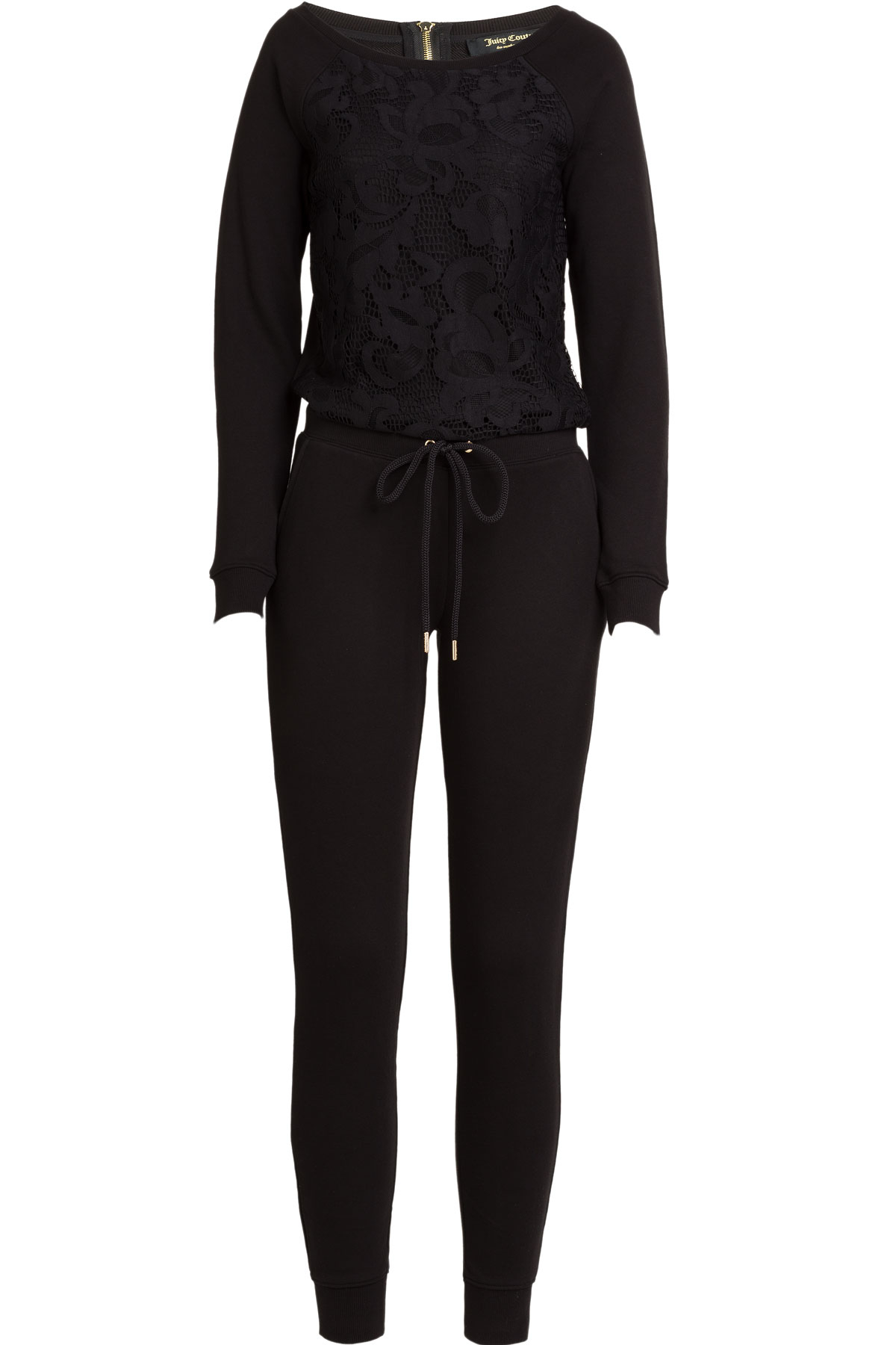 Juicy couture Cotton Jumpsuit With Lace - Black in Black | Lyst