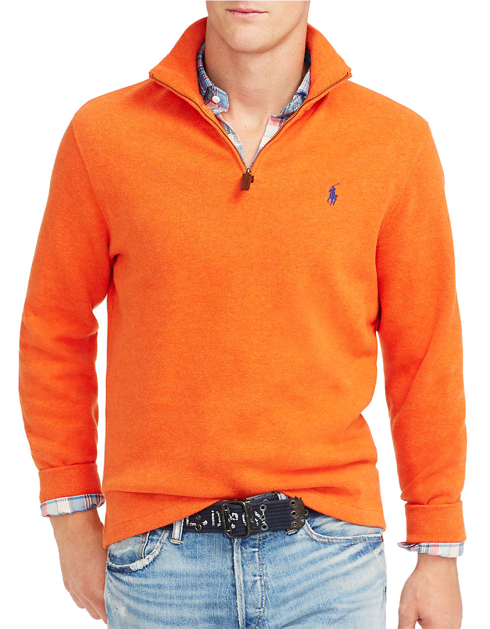 polo ralph lauren orange french rib half zip pullover for men lyst. Black Bedroom Furniture Sets. Home Design Ideas