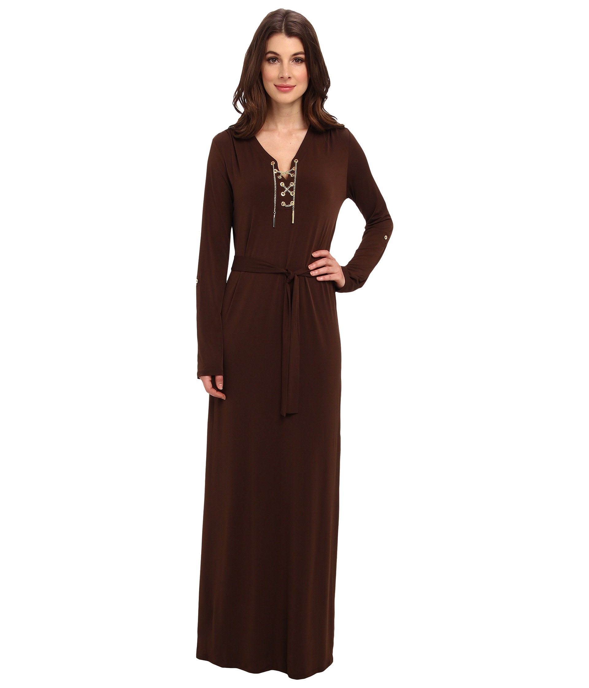 143617e55fa MICHAEL Michael Kors Maxi Chain Tie Dress in Brown - Lyst