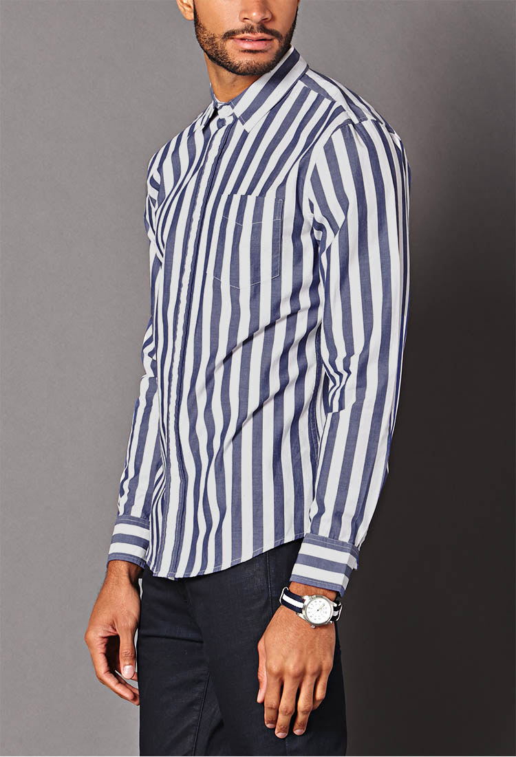 Lyst Forever 21 Vertical Striped Classic Fit Shirt In